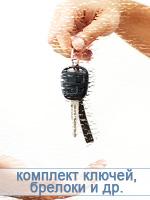 Все комплекты ключей, брелков сигнализации и меток, относящиеся к транспортному средству и обеспечению охраны.